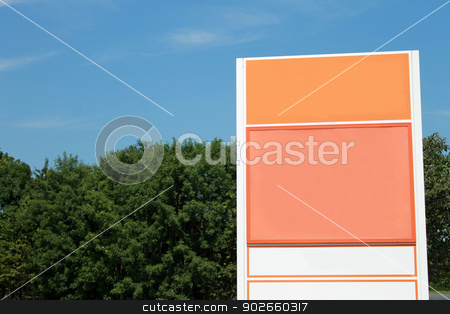 Blank orange sign stock photo, Blank orange sign with blue sky and cloudscape background. by Martin Crowdy