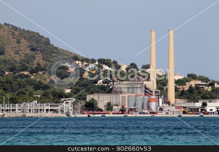 Coastal power station stock photo, Scenic view of coastal power station on island of Majorca, Spain. by Martin Crowdy