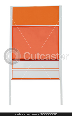 Blank orange sign stock photo, Blank orange sign with copy space isolated on a white background. by Martin Crowdy