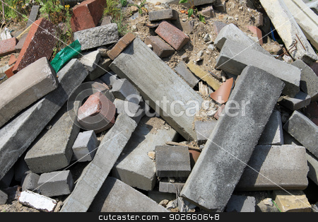 Pile of rubble stock photo, Abstract background of rubble in pile. by Martin Crowdy