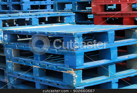 Stacks of pallet crates stock photo, Stacks of pallet crates in red and blue. by Martin Crowdy