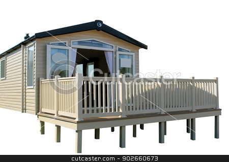Static caravan stock photo, Static caravan on modern trailer park, white background. by Martin Crowdy