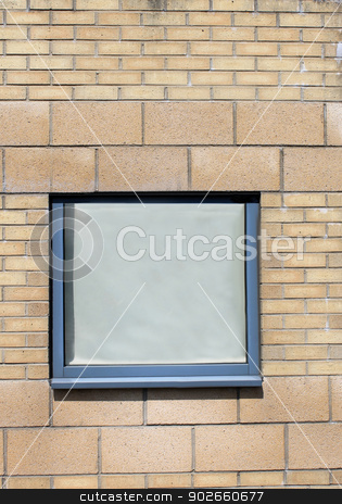 Window on brick building stock photo, Window on exterior of modern brick office building. by Martin Crowdy