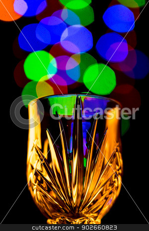 Light bubbles coming out of a wine glass stock photo, Beautiful light bokeh bubbles coming out of a wine glass by derejeb