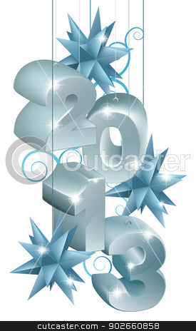 Silver and Blue Christmas 2013 Ornaments stock vector clipart, Silver and blue Christmas decorations or Christmas tree baubles reading 2013 by Christos Georghiou