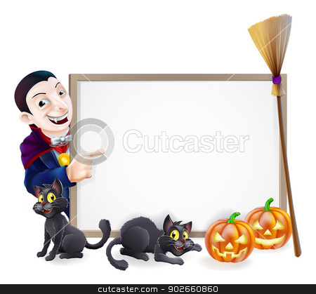 Halloween Dracula Sign stock vector clipart, Halloween sign with orange Halloween pumpkins and black witch's cats, witch's broom stick and cartoon Dracula Vampire Character by Christos Georghiou