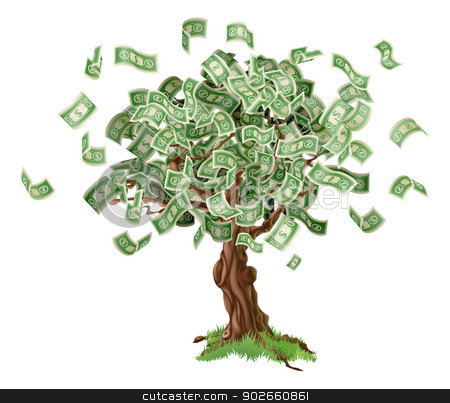Money savings tree stock vector clipart, Business or savings concept of a money tree with growing dollar bills or other money. by Christos Georghiou