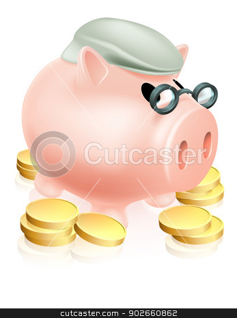 Pension piggy bank with coins stock vector clipart, A piggy bank with old man's cap or hat and glasses surrounded by coins. Pension savings fund or plan concept. by Christos Georghiou