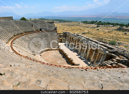Hierapolis theater ruins  stock photo, Ruins of theater in ancient Hierapolis now Pamukkale Turkey by Tudor Antonel adrian