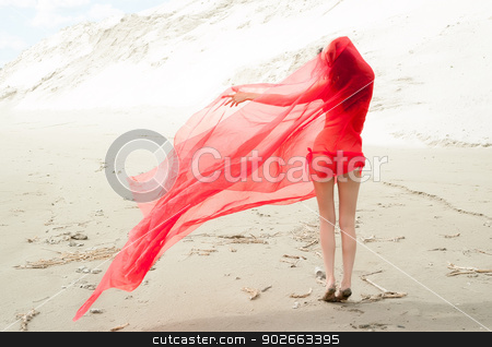 Attractive naked girl on sand. Back view stock photo, Portrait of a beautiful naked woman standing at sand background by Aikon