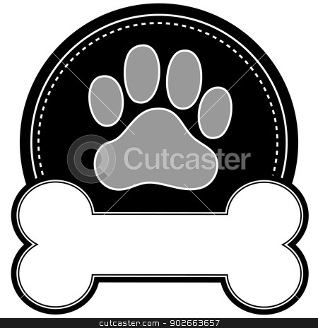 Dog Bone and Paw stock vector clipart, A dog pawprint and dog bone with room for text in a circular design by Maria Bell