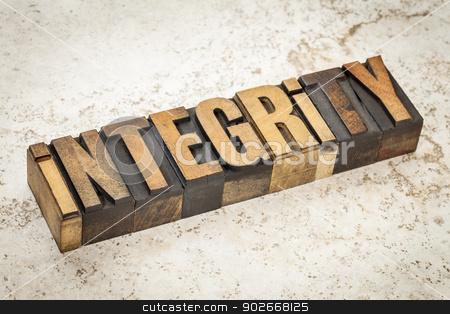 integrity word in wood type stock photo, integrity word in vintage letterpress wood type on a ceramic tile background by Marek Uliasz
