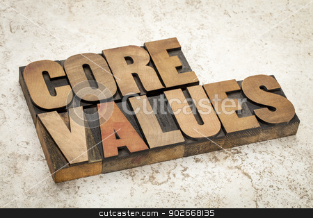 core values  in wood type stock photo, core values - ethics concept - text in vintage letterpress wood type on a ceramic tile background by Marek Uliasz