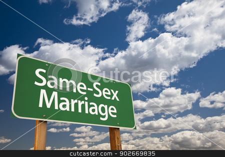 Same-Sex Marriage Green Road Sign and Clouds stock photo, Same-Sex Marriage Green Road Sign Over Dramatic Blue Sky and Clouds. by Andy Dean