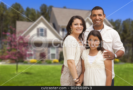 Small Hispanic Family in Front of Their Home stock photo, Happy Hispanic Mother, Father and Daughter in Front of Their Home. by Andy Dean