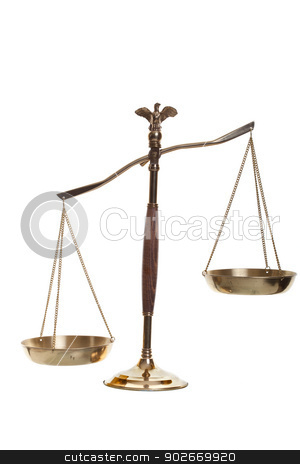 Scales of Justice stock photo, Justice scales shot on a white background. by Scott Little