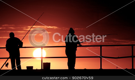Fishing stock photo, Fishing men at the beach by instinia