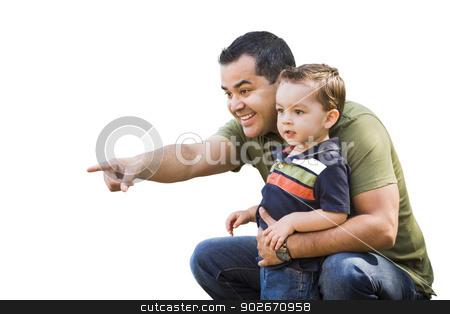 Hispanic Father Pointing With Mixed Race Son on White stock photo, Handsome Hispanic Father Pointing With Mixed Race Son Isolated on White. by Andy Dean