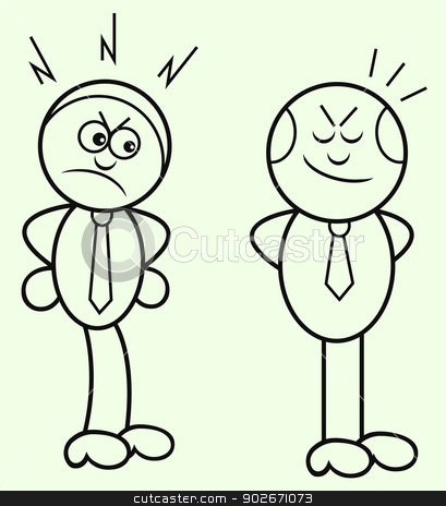 Boss and Employee stock vector clipart, Cartoon boss and employee. by Emrah AVCI