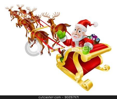 Cartoon Christmas Santa Claus Sled stock vector clipart, Cartoon Christmas illustration of Santa Claus flying in his sled or sleigh with reindeer and a sack of Christmas presents by Christos Georghiou