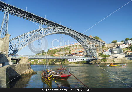 dom luis bridge porto portugal stock photo, dom luis bridge in porto portugal by travelphotography