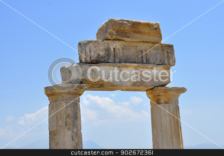 hierapolis gymnasium stock photo, hierapolis ancient city architecture ruin stone columns by Tudor Antonel adrian