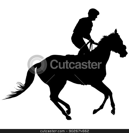 Jockey Silhouette stock vector clipart, Silhouette of a jockey exercising his horse by Maria Bell