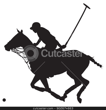 Polo Pony Silhouette stock vector clipart, Black silhouette of a polo player and horse  by Maria Bell