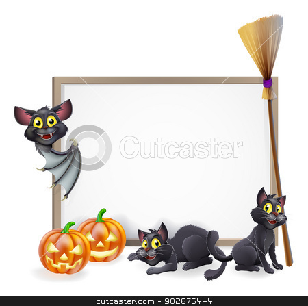 Halloween sign background stock vector clipart, A Halloween background sign with pumpkins, black witches cats and broomstick and vampire bat and copyspace for your text in the centre by Christos Georghiou