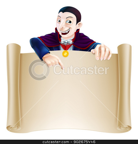 Halloween Dracula Scroll stock vector clipart, An illustration of a cute cartoon Count Dracula vampire character pointing at a scroll sign. Perfect for your Halloween sign or message by Christos Georghiou