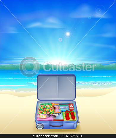 Tropical beach with Suitcase stock vector clipart, An illustration of a beautiful sandy tropical beach with a suitcase full of holiday or vacation essentials by Christos Georghiou