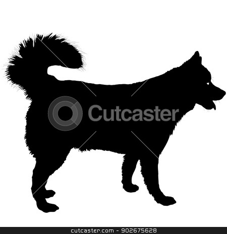 Husky Silhouette stock vector clipart, A black silhouette of a Husky dog by Maria Bell