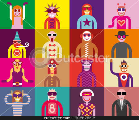 People in sunglasses - funny portraits stock vector clipart, Art composition abstract portraits - vector illustration. Sixteen people in sunglasses. Can be used as seamless wallpaper. by dan jazzia