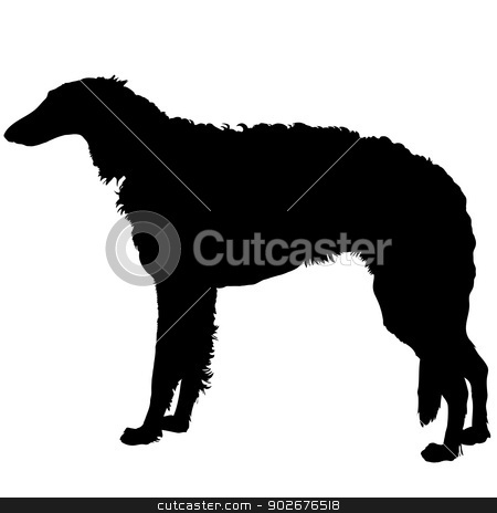Borzoi Silhouette stock vector clipart, A silhouette of a beautiful red and white Borzoi by Maria Bell