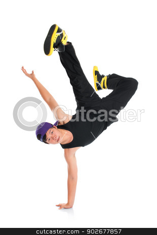 Asian hip hop dancer stock photo, Full body cool looking Asian teen hip hop dancer isolated on white background. Asian youth culture. by szefei