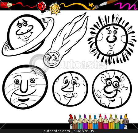 Cartoon Planets and Orbs coloring page stock vector clipart, Coloring ...