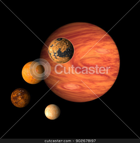Jupiter with moons europa, callisto,ganymede,io stock photo, illustration of planet Jupiter with moons europa, callisto,ganymede,io on isolated background by patrimonio