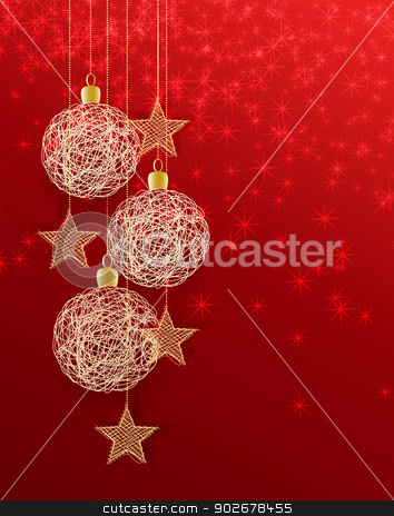 christmas balls stock vector clipart, Vector christmas background with decorated christmas balls by Miroslava Hlavacova