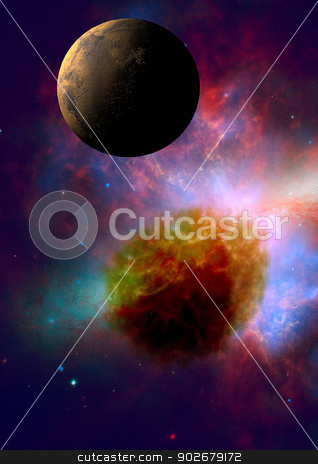 Far-out planets in a space stock photo, Far-out planets in a space against stars.