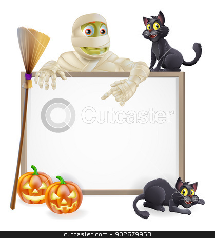 Mummy Halloween Sign stock vector clipart, A Halloween sign with a classic mummy character pointing down and witch's black cats, broomstick and Halloween carved orange pumpkins by Christos Georghiou