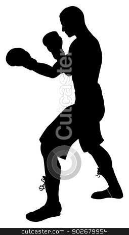Boxer Silhouette stock vector clipart, A detailed silhouette of a boxer with gloves boxing by Christos Georghiou