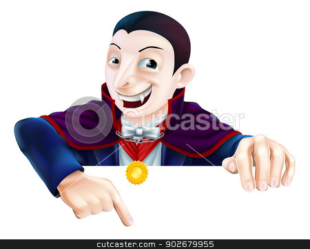 Cartoon Dracula Pointing Down stock vector clipart, Cartoon Count Dracula vampire character for Halloween above a sign or banner pointing down at it by Christos Georghiou