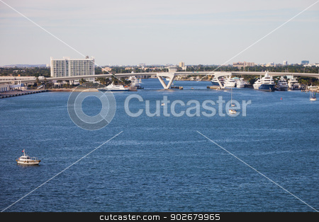 Fort Lauderdale Waterway stock photo, Fort Lauderdale Waterway with Drawbridge and Boat Traffic  by Scott Griessel