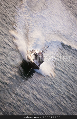 Police Boat stock photo, Police Boat on Patrol Moving Fast with Large Wake by Scott Griessel