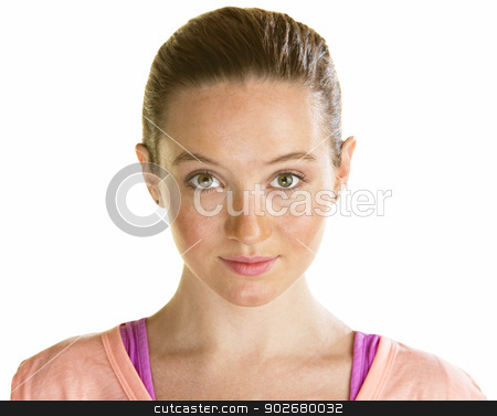 Pretty Young Lady stock photo, Pretty young woman in her 20s over white background by Scott Griessel