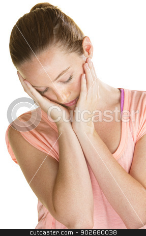 Lonely Woman Holding Face stock photo, Lonely Caucasian woman holding her face in her hands by Scott Griessel