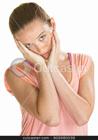 Sad Female Holding Her Face stock photo, Sad lady holding her face with her hands by Scott Griessel