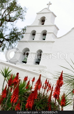 San Diego Mission stock photo, Outside shot of the San Diego Mission Basilica. by Henrik Lehnerer