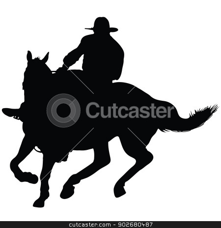 Horseman stock vector clipart, Silhouette of a lone rider wearing a rancher's hat by Maria Bell