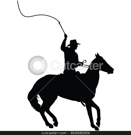 Horseman with Whip stock vector clipart, Silhouette of a horseman cracking a whip  by Maria Bell